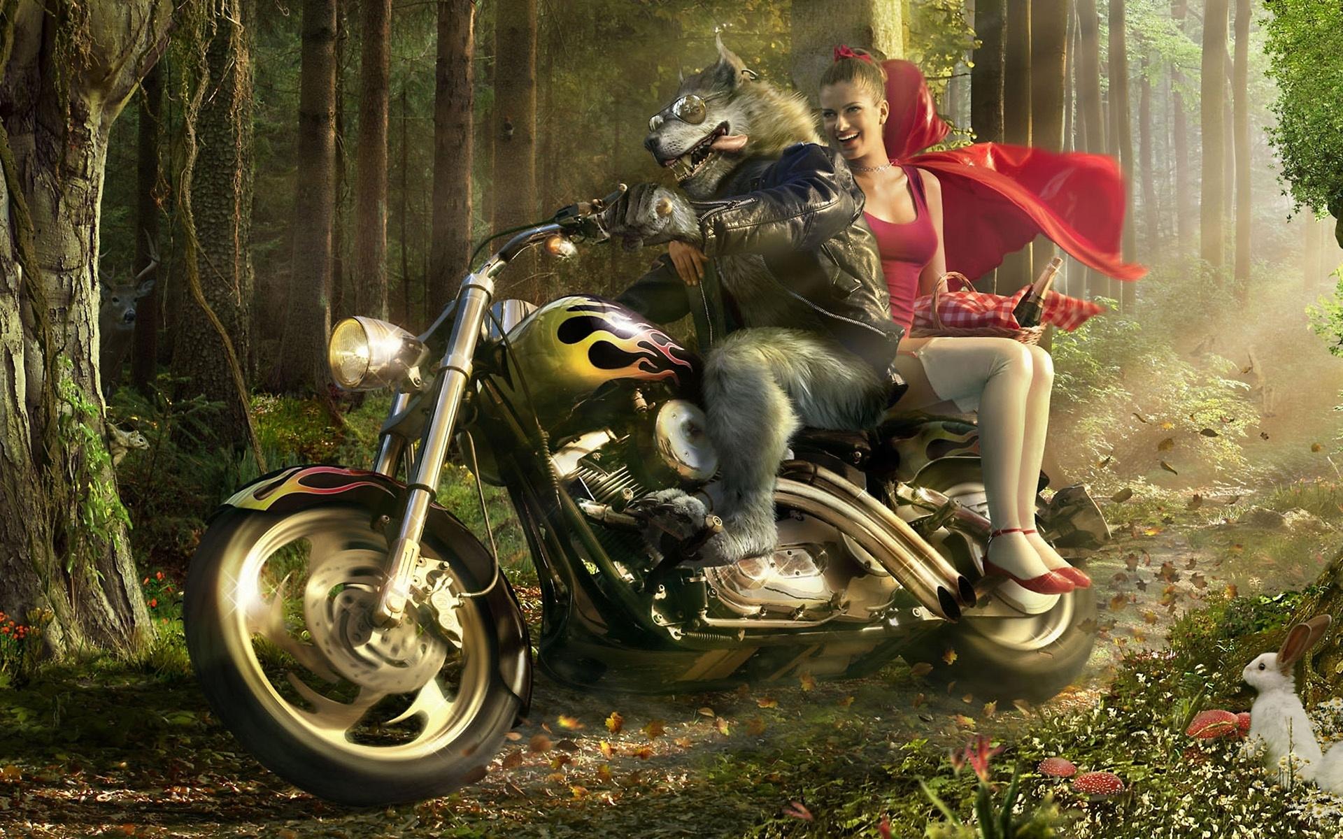 Wolf Biker And Little Red Riding Hood 1080P Wallpaper