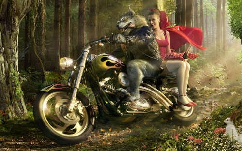 Wolf Biker And Little Red Riding Hood 1080P Wallpaper